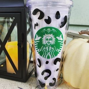 Beetlejuice Halloween Leopard Starbucks Tumbler